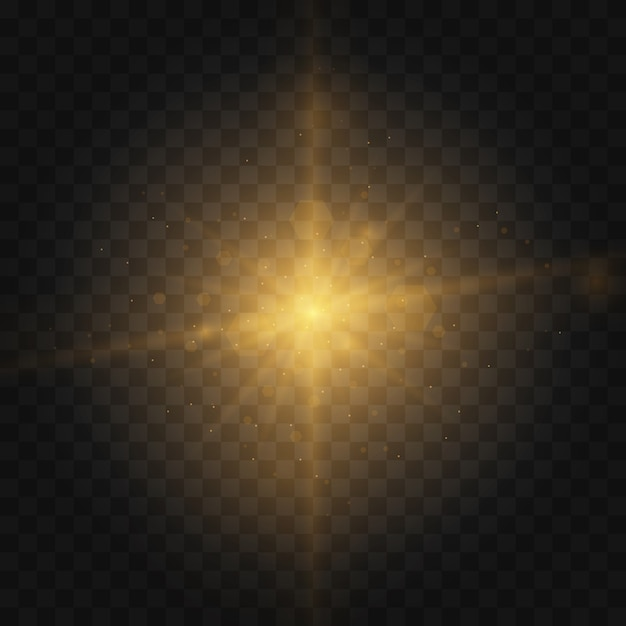 Stern platzte vor funkeln. satz gelb leuchtendes licht explodiert auf einem transparenten hintergrund funkelnde magische staubpartikel. goldglitter heller stern. transparent strahlende sonne, heller blitz Premium Vektoren