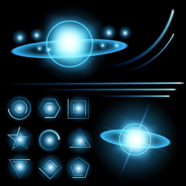 Sterne mit glimmlichteffekt strahlen. Premium Vektoren