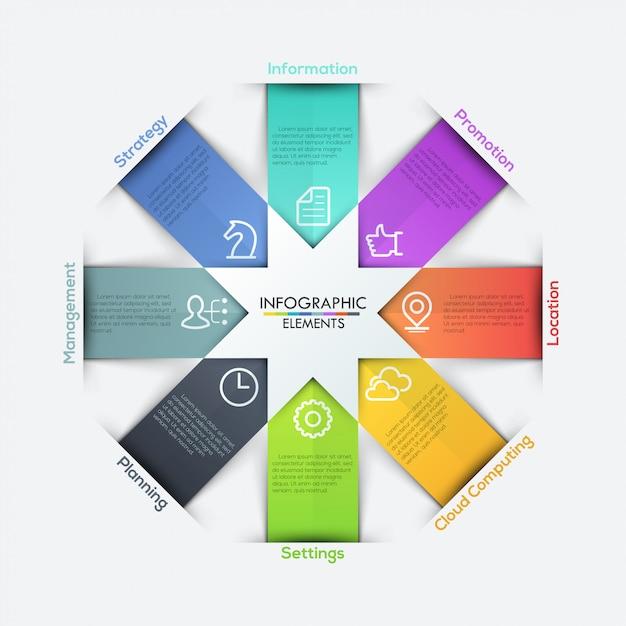 Sterne pfeile bänder infografiken festgelegt Premium Vektoren