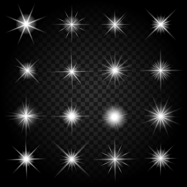 Sterne platzen vor funkeln und leuchtenden lichteffekten. helles set, feuerwerk funkeln, Kostenlosen Vektoren