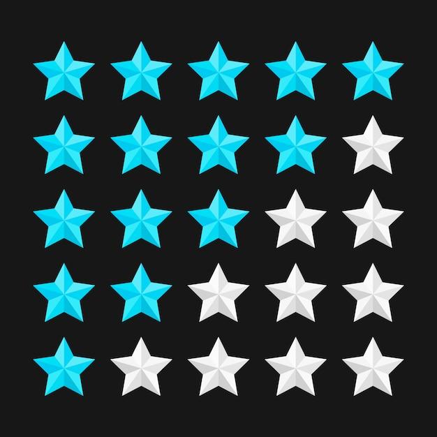 Sternebewertungsschablone mit farbigen sternen. illustration. Premium Vektoren