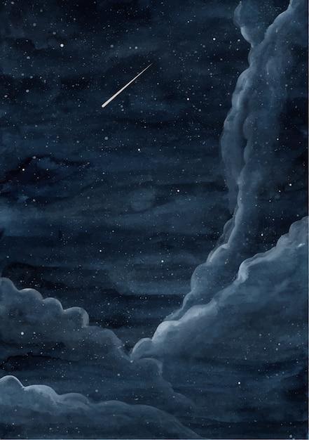 Sternenhimmel aquarell hintergrund Premium Vektoren