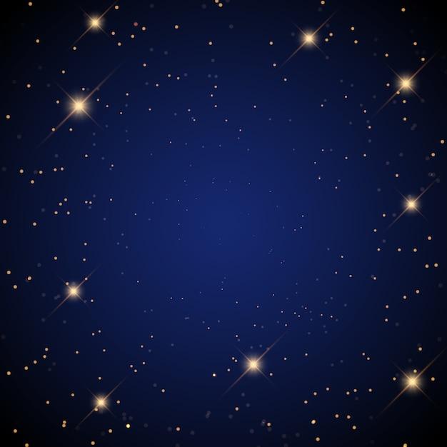 Sternenhimmel hintergrund mit leuchtenden sternen Kostenlosen Vektoren