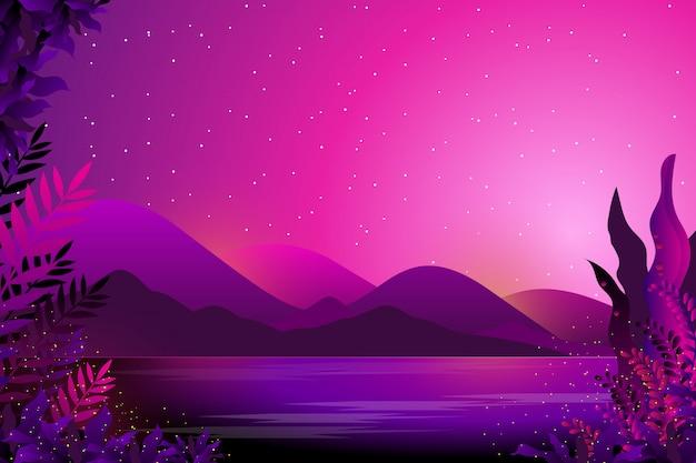 Sternenhimmel und meer nacht hintergrund Premium Vektoren