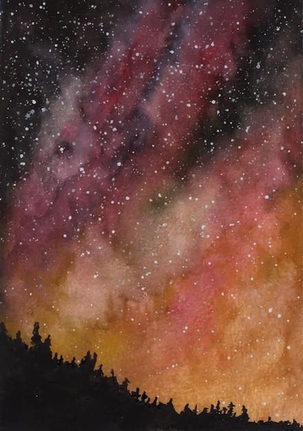 Sternenklare nacht-aquarellhintergrund der galaxie Premium Vektoren