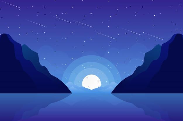 Sternenklare nacht des meeres und des himmels Premium Vektoren