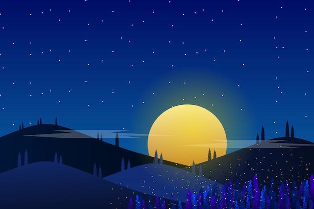 Sternenklare nacht und hintergrund des blauen himmels nacht Premium Vektoren