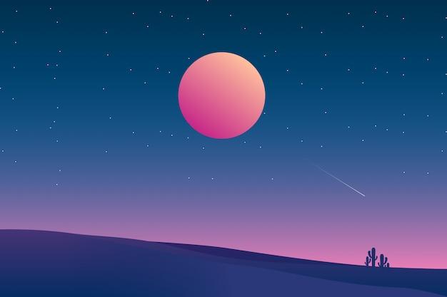 Sternenklare nachthintergrund mit wüstenlandschaftsillustration Premium Vektoren