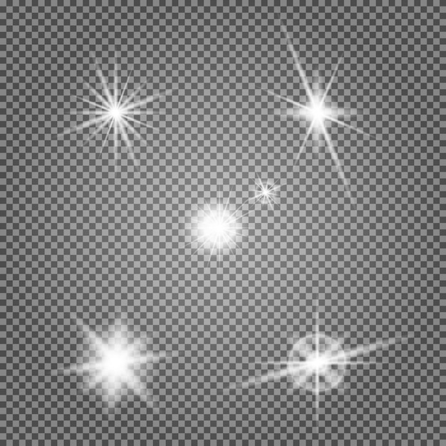 Sternfackel vektor festgelegt. objektiv lichteffekt. blitz Premium Vektoren