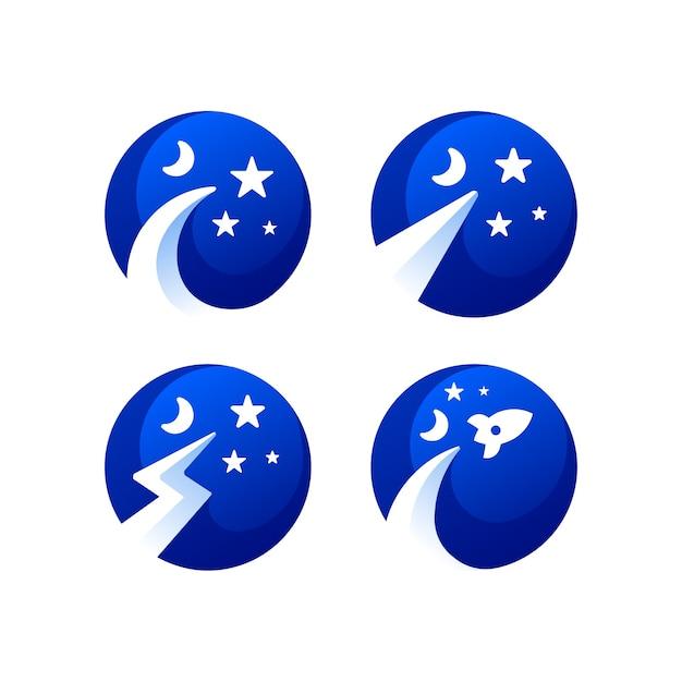Sternraum-farbverlauf-logo-sammlung Premium Vektoren