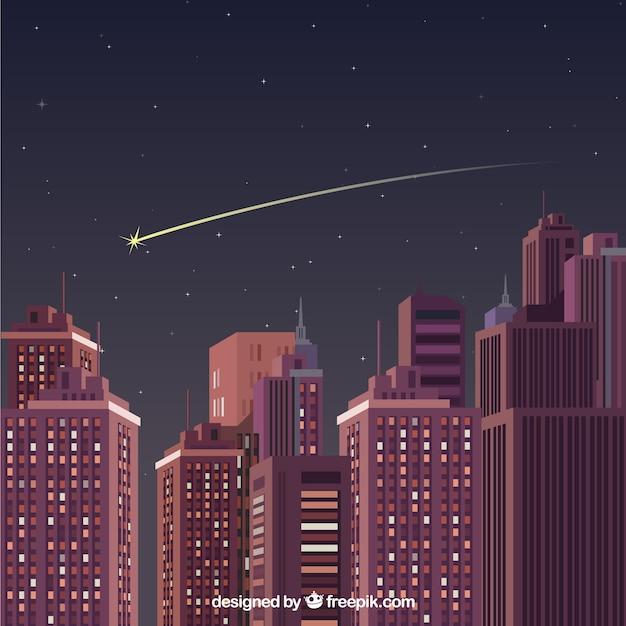 Sternschnuppe über einer großen nachtstadt Kostenlosen Vektoren