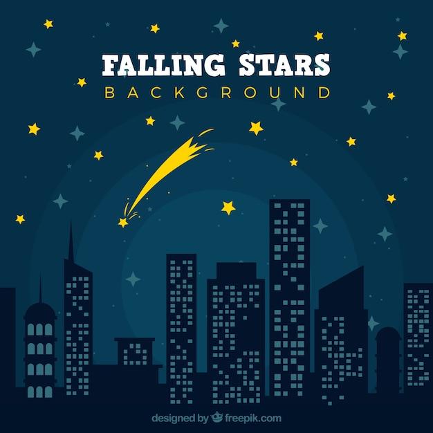 Sternschnuppe über einer nachtstadt Kostenlosen Vektoren