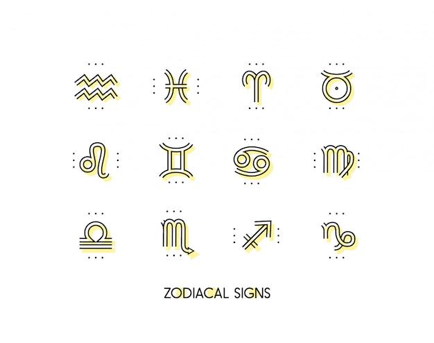 Sternzeichen. heilige symbole. astrologiezeichen. vintage dünne linie sammlung. auf weißem hintergrund. Premium Vektoren