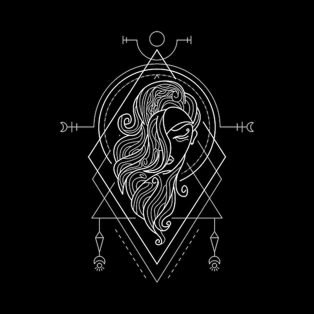 Sternzeichen jungfrau geometri-stil Premium Vektoren