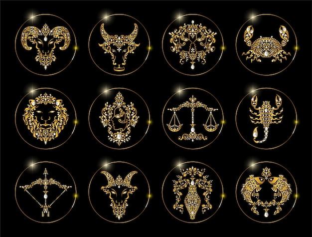 Sternzeichen satz von horoskop symbole astrologie icons sammlung Premium Vektoren