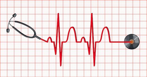 Stethoskop und herzschläge auf millimeterpapier Kostenlosen Vektoren