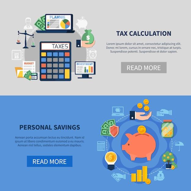 Steuerberechnung horizontale banner Kostenlosen Vektoren