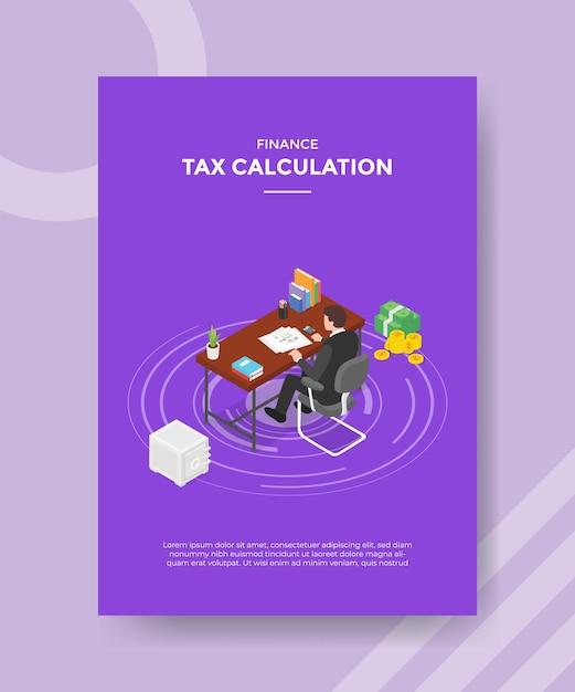 Steuerberechnungskonzept für vorlagenbanner und flyer zum drucken mit isometrischer stilillustration Kostenlosen Vektoren