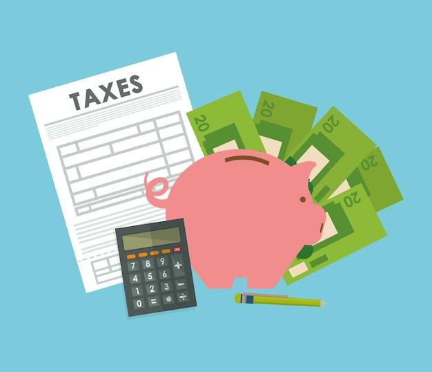 Steuerkonzept mit ikonendesign Premium Vektoren
