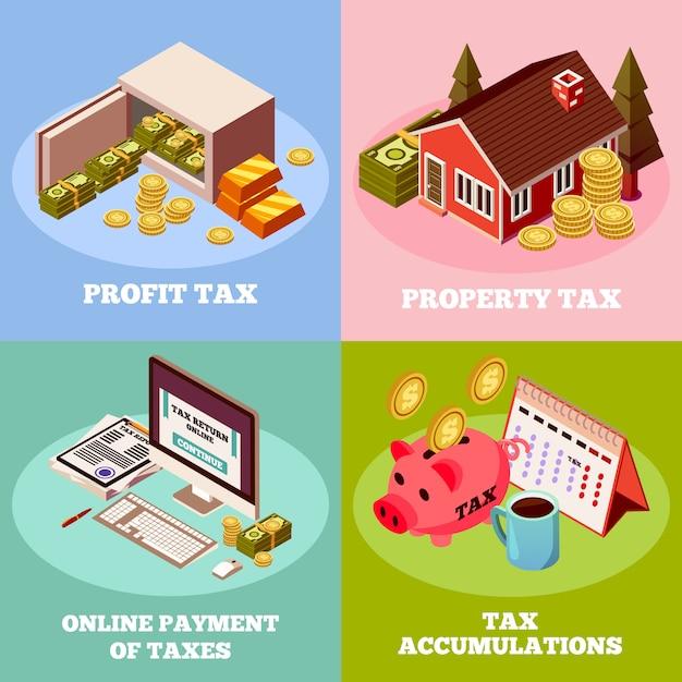 Steuern 2x2 isometrische zusammensetzung festgelegt Kostenlosen Vektoren
