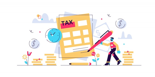 Steuern abbildung. winziges personenkonzept mit zahlungsverzögerung. finanzdienstleistung zur deckung des regierungsbedarfs. frist informationsrechnung und geldstrafe. nationale jährliche berechnungsprüfung. Premium Vektoren