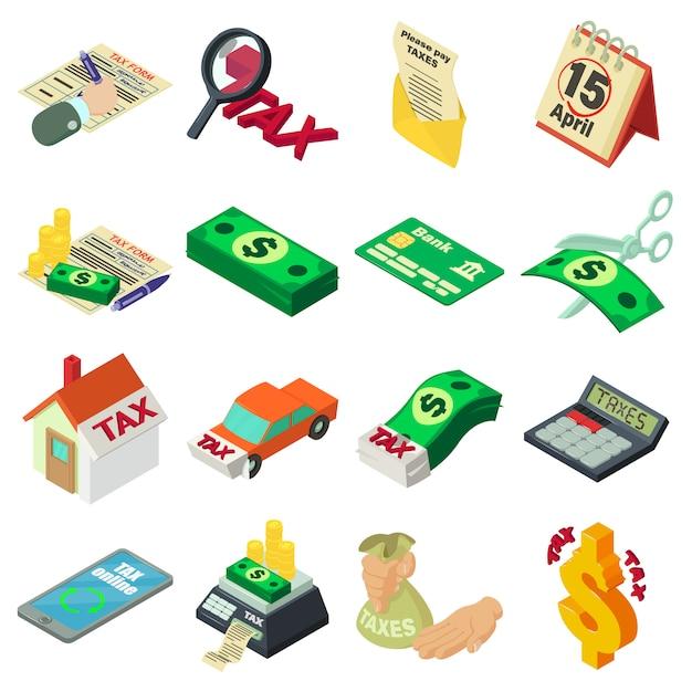 Steuern buchhaltung geld icons set. isometrische illustration von 16 steuerbuchungsgeld-vektorikonen für netz Premium Vektoren