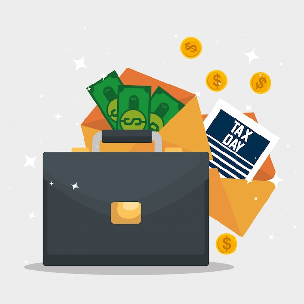 Steuertag. dienststeuerbericht mit aktenkoffer und rechnungen Kostenlosen Vektoren