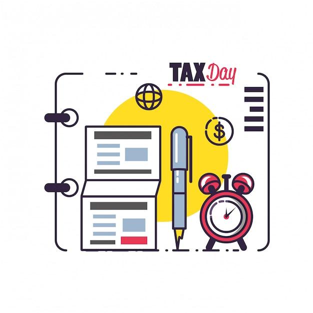 Steuertag mit dokumenten- und satzikonen Premium Vektoren
