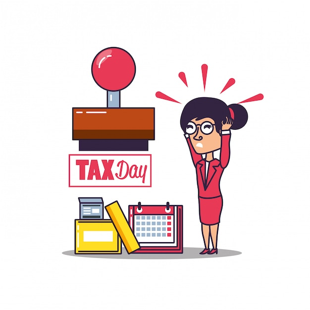 Steuertag mit geschäftsfrau- und satzikonen Premium Vektoren
