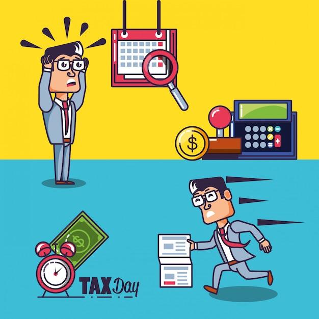 Steuertag mit geschäftsmännern und satzikonen Premium Vektoren