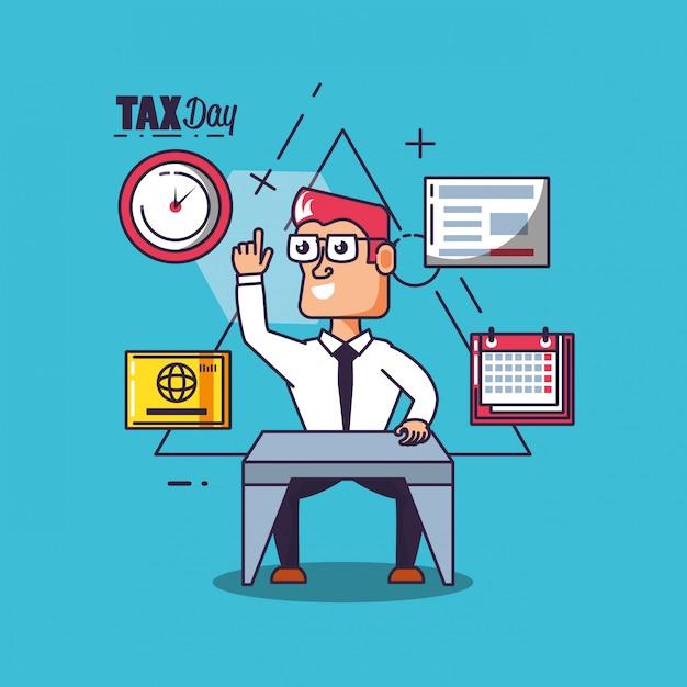 Steuertag mit geschäftsmann- und satzikonen Premium Vektoren