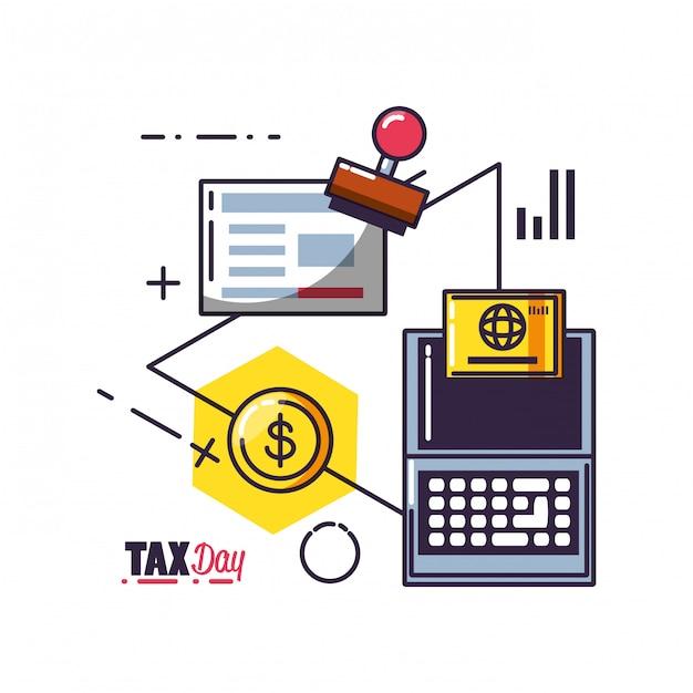 Steuertag mit laptop-computer und eingestellten ikonen Premium Vektoren