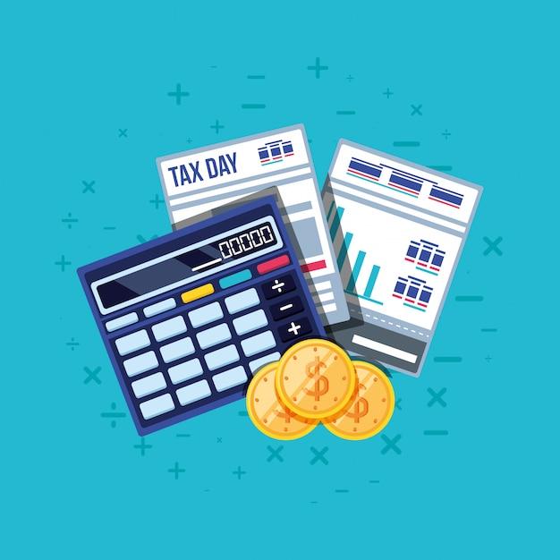 Steuertag mit taschenrechner und satz Premium Vektoren