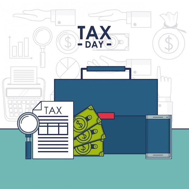 Steuertagesfinanzkarte Premium Vektoren