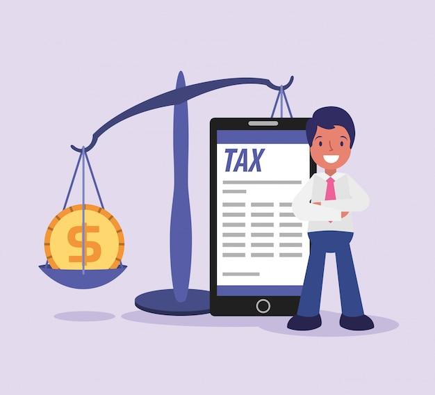Steuertagesgeschäftsmannkarikatur Premium Vektoren