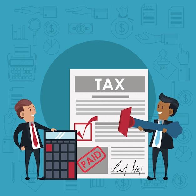 Steuertagesymbole und cartoons Premium Vektoren