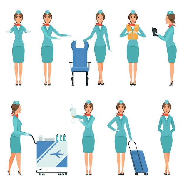 Stewardess charaktere des flughafens und der flugarbeiter Premium Vektoren