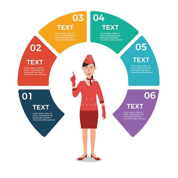 Stewardess mit infographic schablone des kreisdiagramms Premium Vektoren