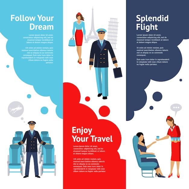 Stewardess und pilot banner set Kostenlosen Vektoren