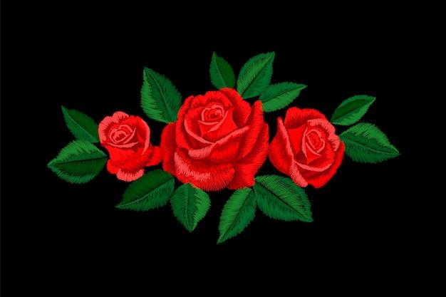 Stickerei rote rose. mode patch dekoration aufkleber. gestickte verzierungsanordnung der blume. traditionelle ethnische gewebetextildruckillustration Premium Vektoren