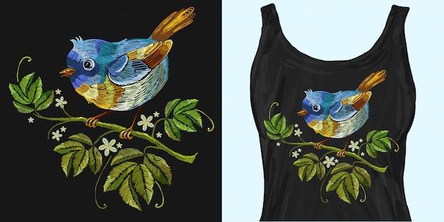 Stickerei wilde rosen und tropische vögel Premium Vektoren