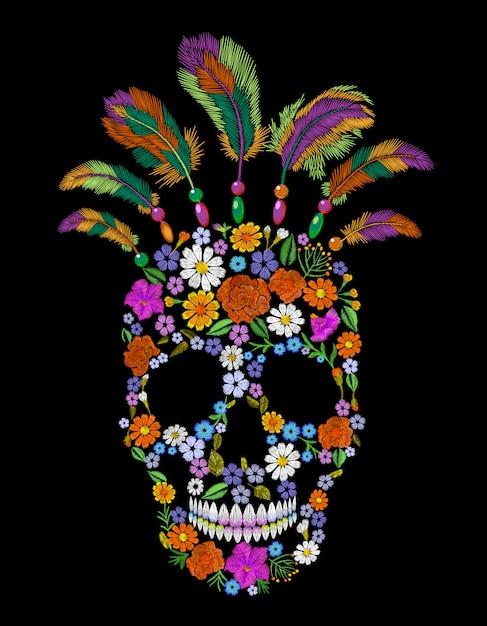 Stickereiblumenschädel-modeflecken, gebürtige indische mexikanische verzierung Premium Vektoren