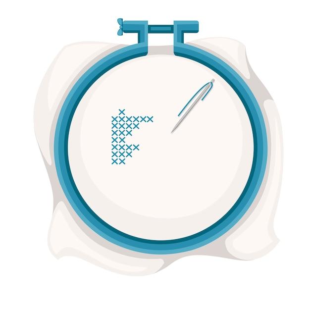 Stickrahmen zum kreuzstichnähen. blauer plastikbügel, edelstahlnadel mit blauem faden. illustration Premium Vektoren