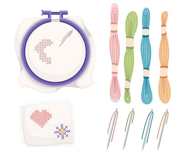 Stickrahmen zum kreuzstichnähen. lila kunststoffbügel, edelstahlnadel mit farbigen fäden. taschentuch mit herz und sonnenikone. illustration Premium Vektoren