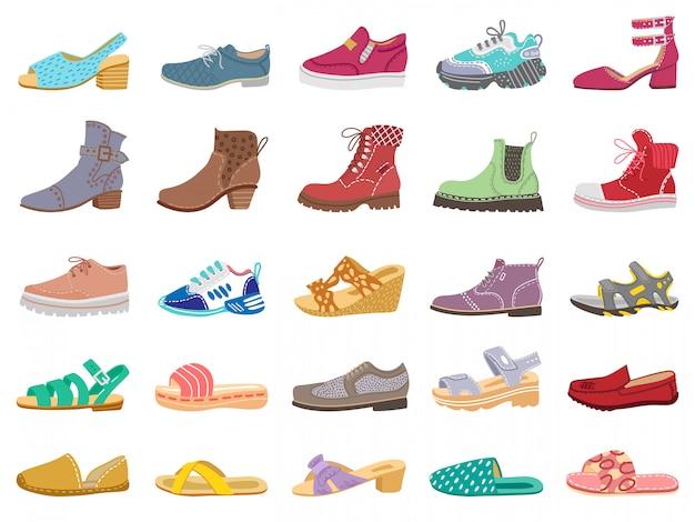 Stiefel und schuhe. moderne elegante damen-, herren- und kinderschuhe, turnschuhe, sandalen, stiefel für winter- und frühlingsillustrationsikonen setzen. turnschuhe und stiefel, modell, kinderschuhe Premium Vektoren