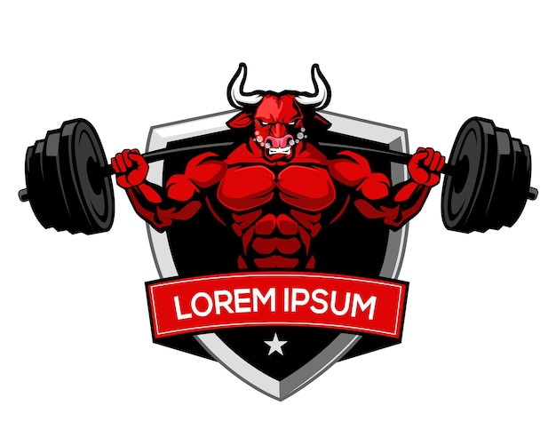 Stier fitness logo cartoon Premium Vektoren