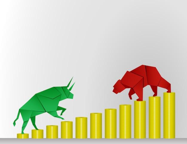 Stier- und bärnpapierkunst mit münzenpapierkunst für börsevektor und -illustration Premium Vektoren