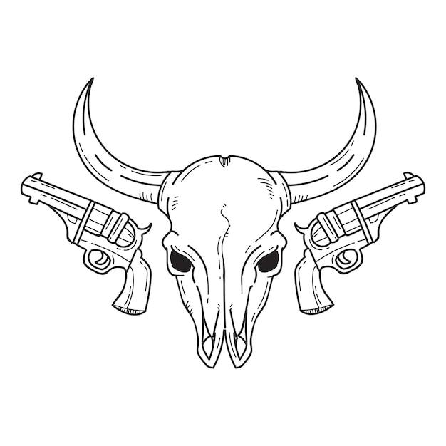Stierkopf und pistolen Premium Vektoren