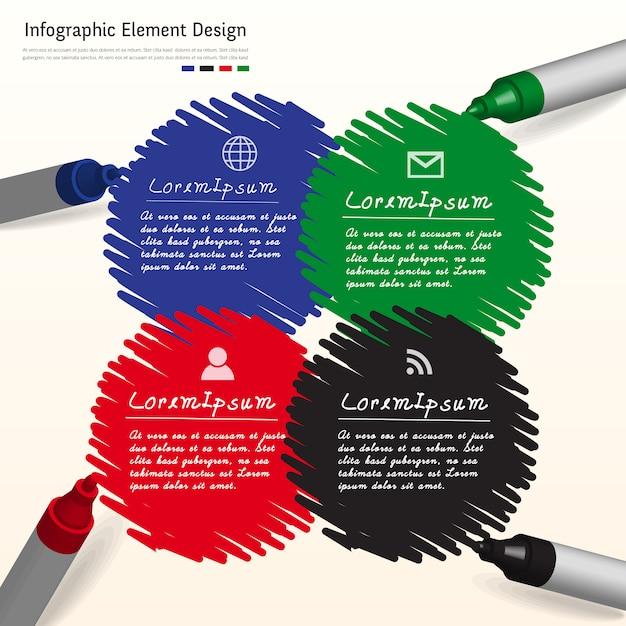 Stiftmarkierung kreative infografik auf whiteboard. Premium Vektoren