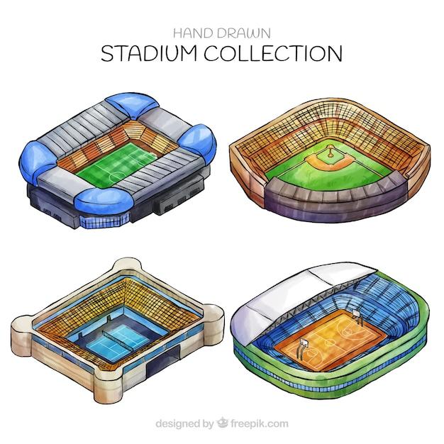 Stil der stadionsammlung in der hand gezeichnet Kostenlosen Vektoren